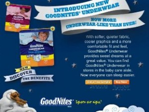 goodnites underwear free sample offered by www.walmart.com