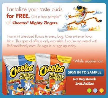 free sample of cheetos mighty zingers